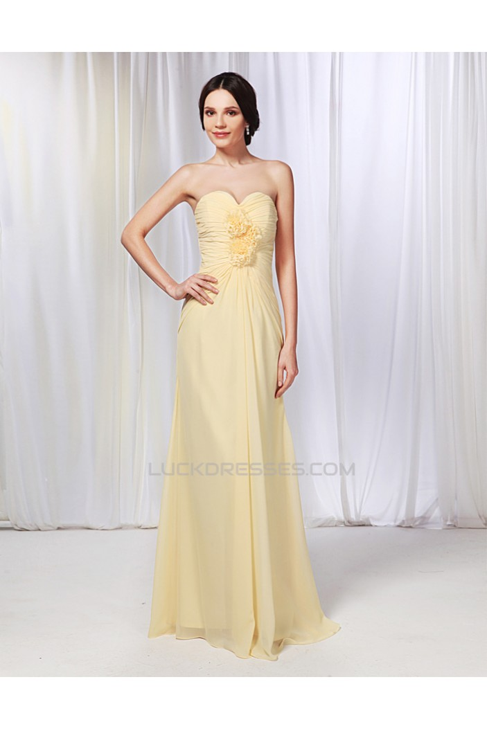 A-Line Sweetheart Long Yellow Chiffon Prom Evening Formal Dresses ED010986