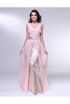 A-Line Long Pink Chiffon Prom Evening Formal Dresses ED010987