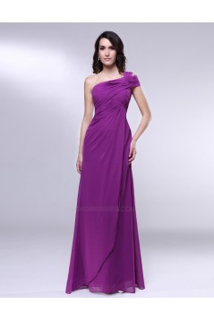 A-Line One-Shoulder Long Purple Chiffon Prom Evening Formal Dresses ED010989
