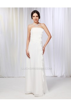 A-Line Strapless Long White Chiffon Prom Evening Formal Dresses ED010994