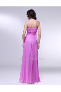 A-Line V-Neck Spaghetti Strap Long Chiffon Prom Evening Formal Dresses ED010995