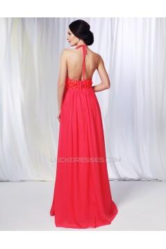 Sheath/Column Halter Long Chiffon Prom Evening Formal Dresses Bridesmaid Dresses ED010996