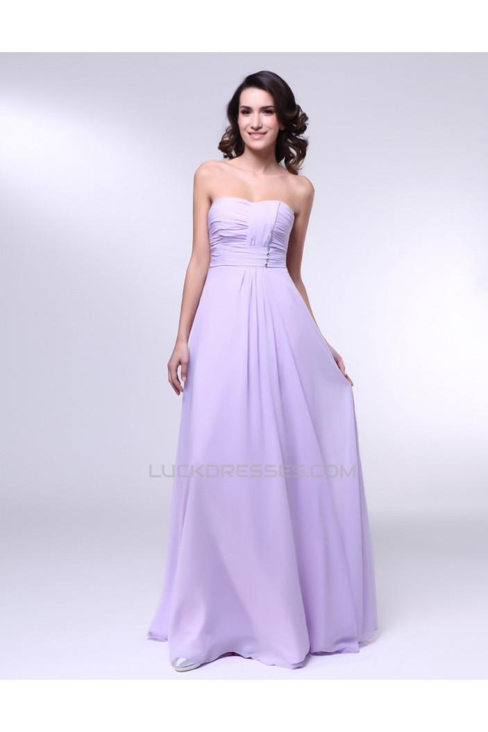 A-Line Strapless Long Chiffon Prom Evening Formal Dresses ED010997