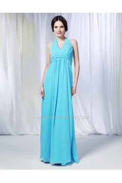 Sheath/Column Halter Long Blue Chiffon Prom Evening Formal Dresses Bridesmaid Dresses ED010998