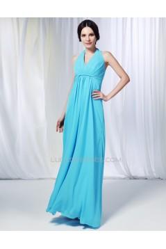 Sheath/Column Halter Long Blue Chiffon Prom Evening Formal Dresses Bridesmaid Dresses ED010998