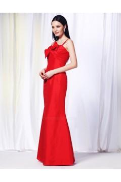 Trumpet/Mermaid Spaghetti Strap Long Red Prom Evening Bridesmaid Dresses ED010999