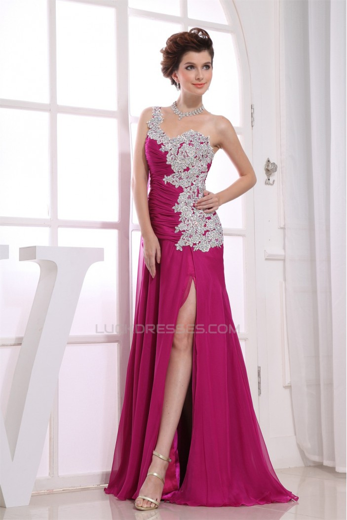 A-Line Beading Chiffon One-Shoulder Prom/Formal Evening Dresses 02020002