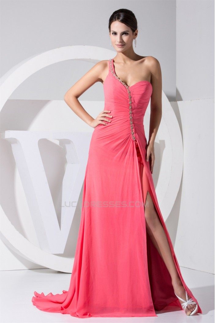 A-Line Beading One-Shoulder Puddle Train Chiffon Long Prom/Formal Evening Dresses 02020004