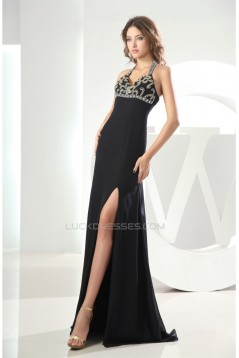 A-Line Brush Sweep Train Halter Chiffon Long Black Prom Evening Formal Dresses 02020007