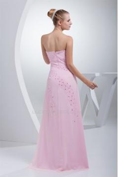 A-Line Chiffon Beading Sleeveless Long Pink Prom/Formal Evening Dresses 02020008