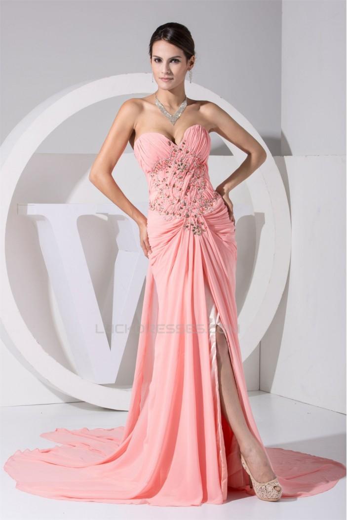 Sheath/Column Chiffon Court Train Long Pink Prom/Formal Evening Dresses 02020009