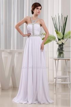 A-Line Chiffon Halter Sleeveless Long White Prom/Formal Evening Dresses 02020010