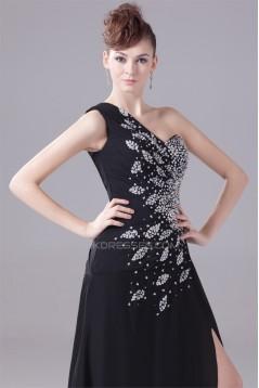 A-Line Chiffon One-Shoulder Beaded Long Black Prom/Formal Evening Dresses 02020011