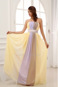 A-Line Chiffon Strapless Long Prom/Formal Evening Dresses 02020013