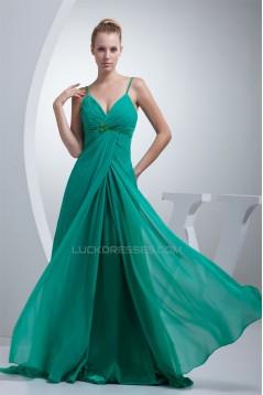A-Line Chiffon Spaghetti Strap Long Green Prom/Formal Evening Maternity Dresses 02020014