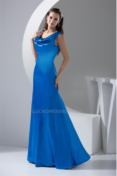 A-Line Dropped Floor-Length Long Blue Prom Party Formal Evening Bridesmaid Dresses 02020015