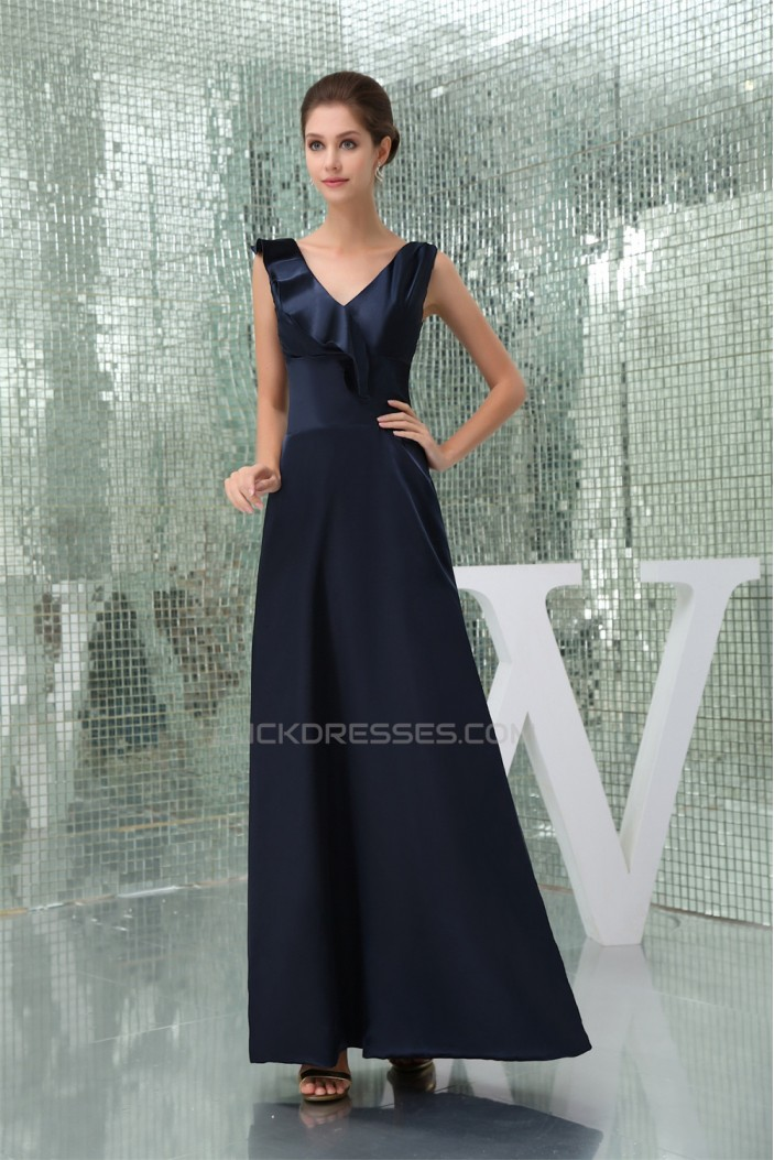 A-Line Falbala Silk like Satin V-Neck Long Evening Formal Bridesmaid Dresses 02020016