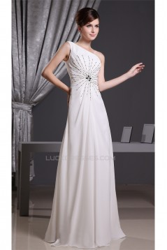 A-Line Floor-Length One-Shoulder Beading Long Prom Evening Bridesmaid Dresses 02020018