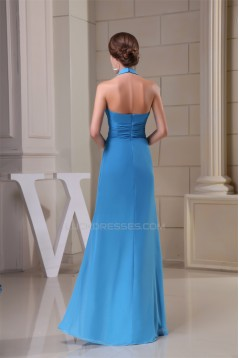 A-Line Floor-Length Ruched Halter Sleeveless Long Blue Party Formal Bridesmaid Dresses 02020019