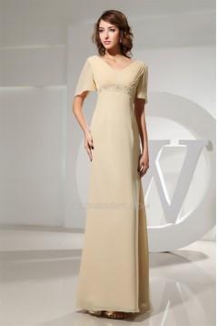 A-Line Floor-Length V-Neck Chiffon Formal Evening Mother of the Bride Dresses 02020020