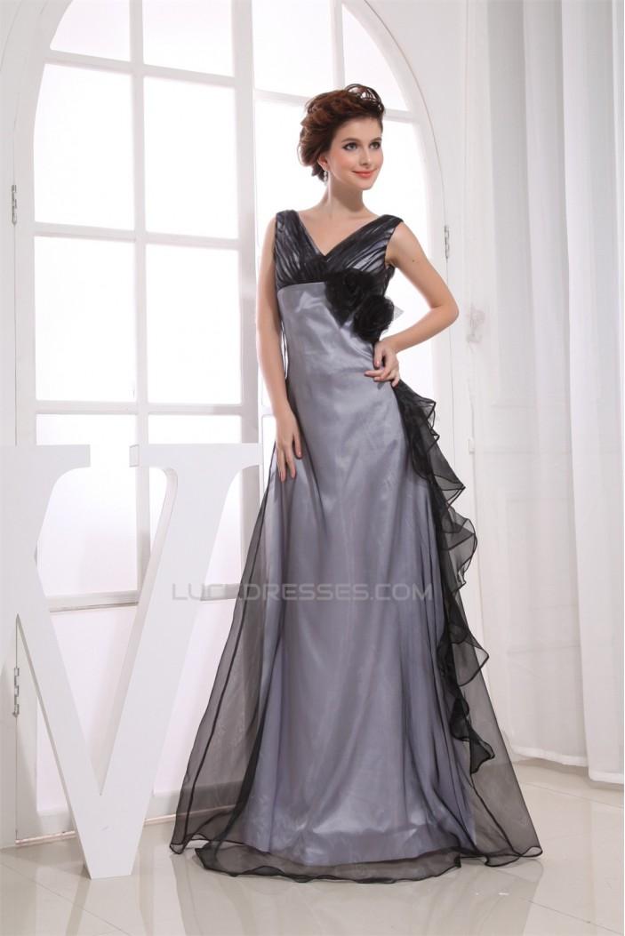 A-Line Handmade Flowers Floor-Length V-Neck Evening Mother of the Bride Dresses 02020021