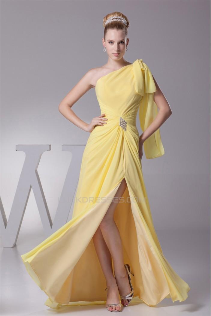 A-Line One-Shoulder Sleeveless Draped Floor-Length Long Yellow Prom Evening Bridesmaid Dresses 02020022