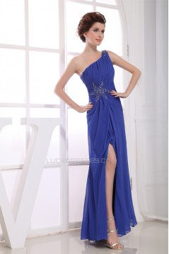 A-Line One-Shoulder Sleeveless Ruffles Chiffon Long Blue Prom/Formal Evening Dresses 02020023