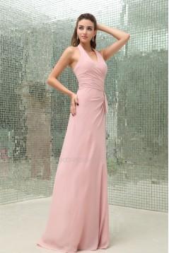 Affordable Sheath/Column Pleats Halter Floor-Length Chiffon Long Pink Evening Formal Bridesmaid Dresses 02020025