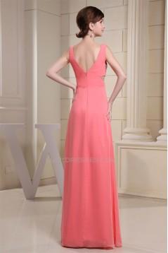 A-Line Ruffles Chiffon V-Neck Sequins Long Prom/Formal Evening Dresses 02020027