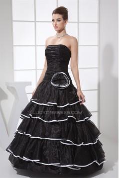 A-Line Ruffles Floor-Length Satin Organza Long Black Prom/Formal Evening Dresses 02020028