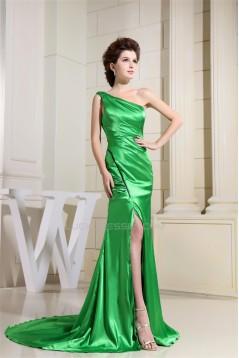 Silk like Satin One-Shoulder Sleeveless Long Green Prom/Formal Evening Dresses 02020029