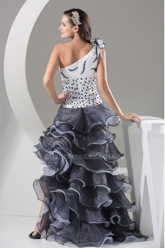 A-Line Sleeveless Beading Organza One-Shoulder Black White Prom/Formal Evening Dresses 02020032