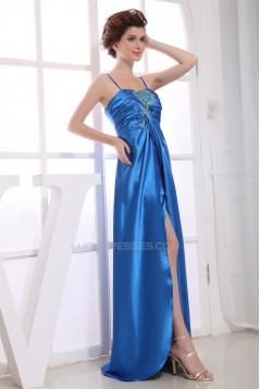 A-Line Sleeveless Brush Sweep Train Beading Long Blue Evening Party Formal Dresses 02020033