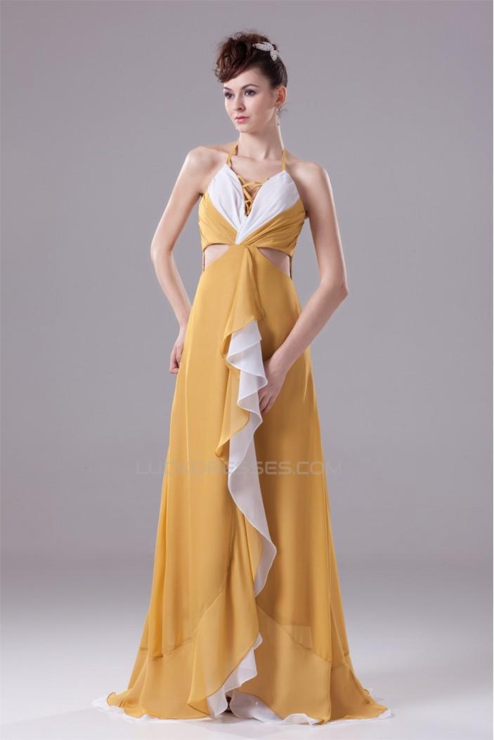 A-Line Sleeveless Brush Sweep Train V-Neck Long Prom/Formal Evening Dresses 02020034