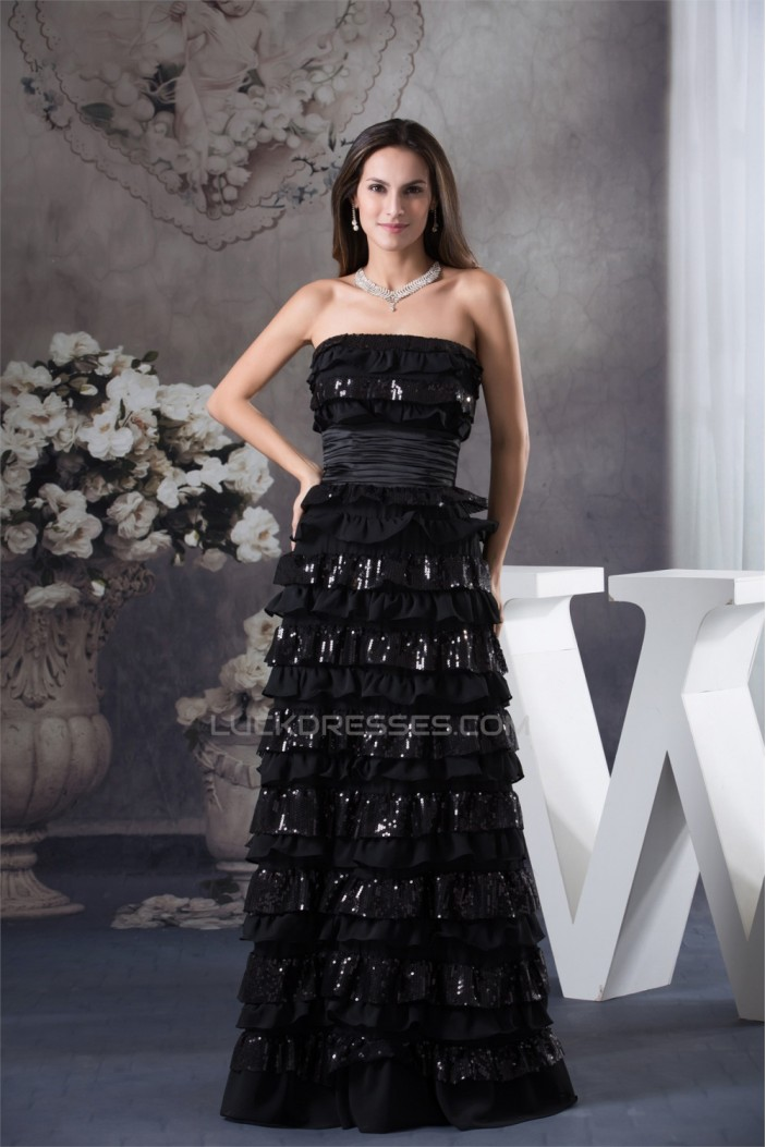 A-Line Sleeveless Floor-Length Ruffles Chiffon Sequins Long Black Prom/Formal Evening Dresses 02020035