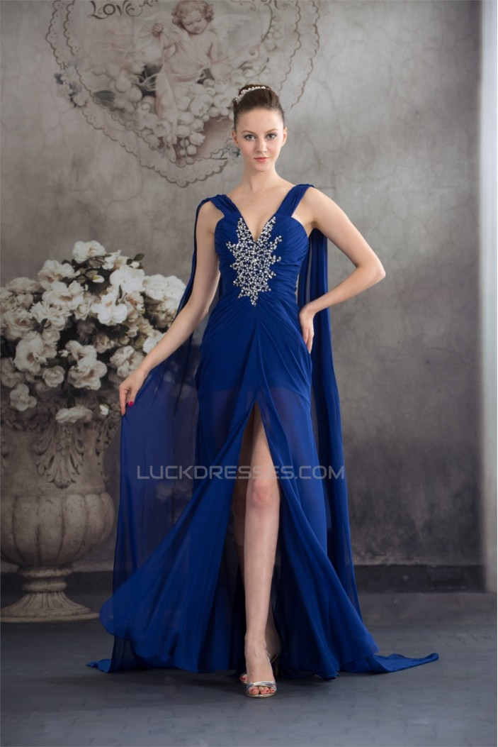 Sheath/Column Sequins Ruffles Chiffon Long Blue Prom/Formal Evening Dresses 02020037