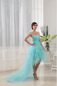 High Low Sweetheart Beaded Fine Netting Sweetheart Prom/Formal Evening Dresses 02020038