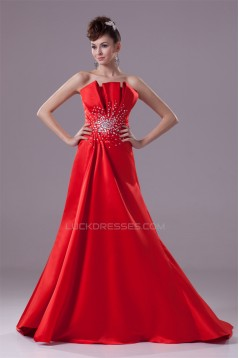 A-Line Sleeveless Strapless Beading Puddle Train Long Red Prom/Formal Evening Dresses 02020040