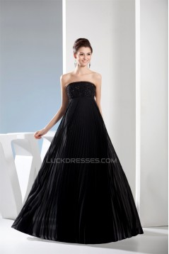 Empire Strapless Chiffon Long Black Prom/Formal Evening Dresses Maternity Evening Dresses 02020042