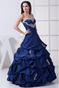 Ball Gown Strapless Taffeta Sleeveless Floor-Length Long Prom Formal Dresses 02020045