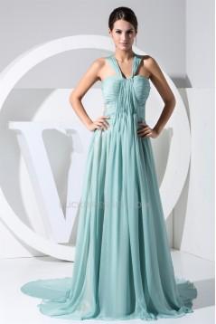 A-Line V-Neck Chiffon Long Prom/Formal Evening Bridesmaid Dresses 02020050