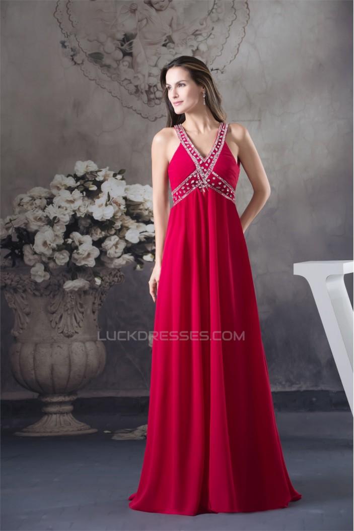 Empire V-Neck Sleeveless Beading Chiffon Long Prom/Formal Evening Dresses Maternity Evening Dresses 02020051