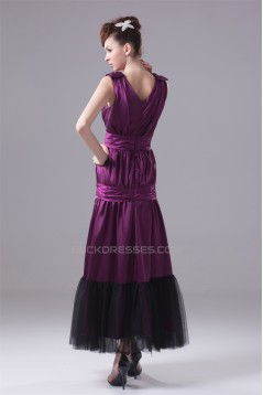 Ankle-Length Elastic Woven Satin Fine Netting Purple Prom/Formal Evening Dresses 02020054