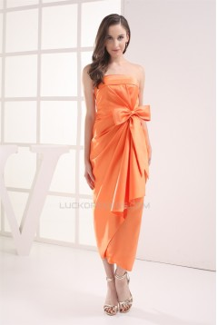 Ankle-Length Pick Ups Strapless Satin Sleeveless Party Bridesmaid Dresses 02020055