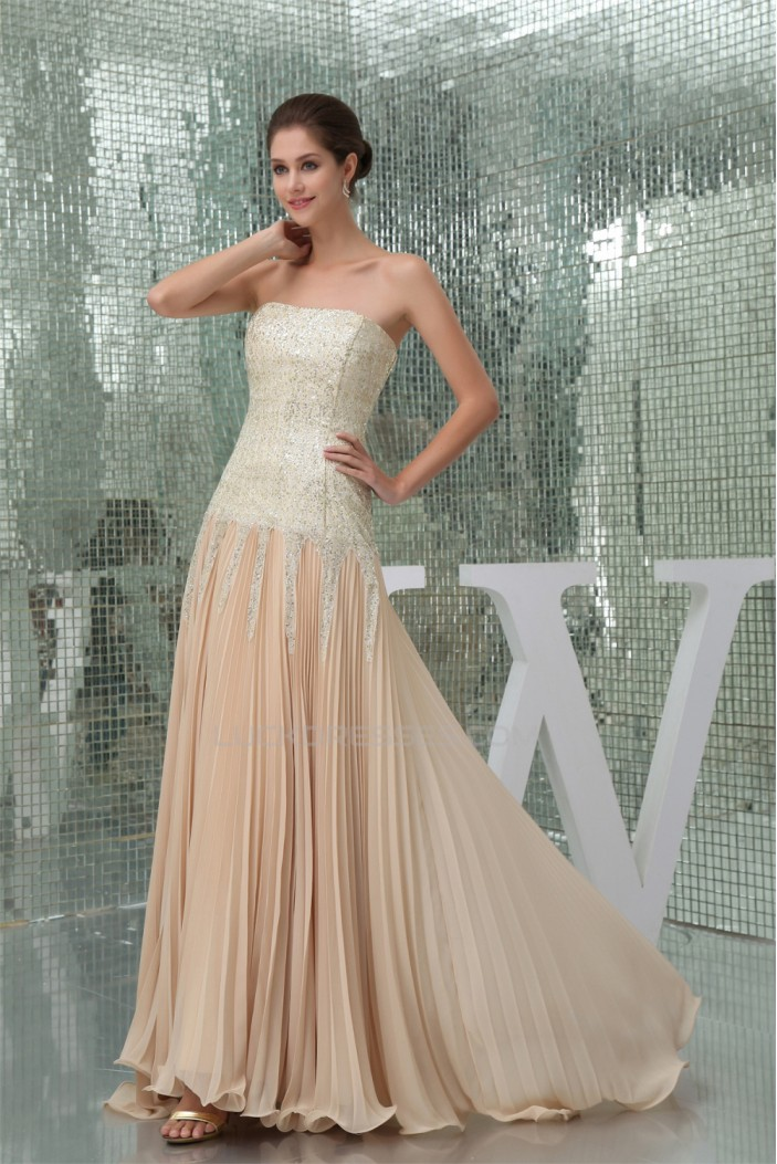 Asymmetrical Ruffles Chiffon Sequined Material Prom/Formal Evening Dresses 02020061