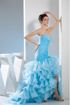 Asymmetrical Strapless Satin Organza Sleeveless Prom/Formal Evening Dresses 02020062