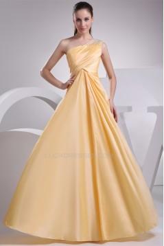 A-Line Floor-Length One-Shoulder Beading Long Prom/Formal Evening Dresses 02020065