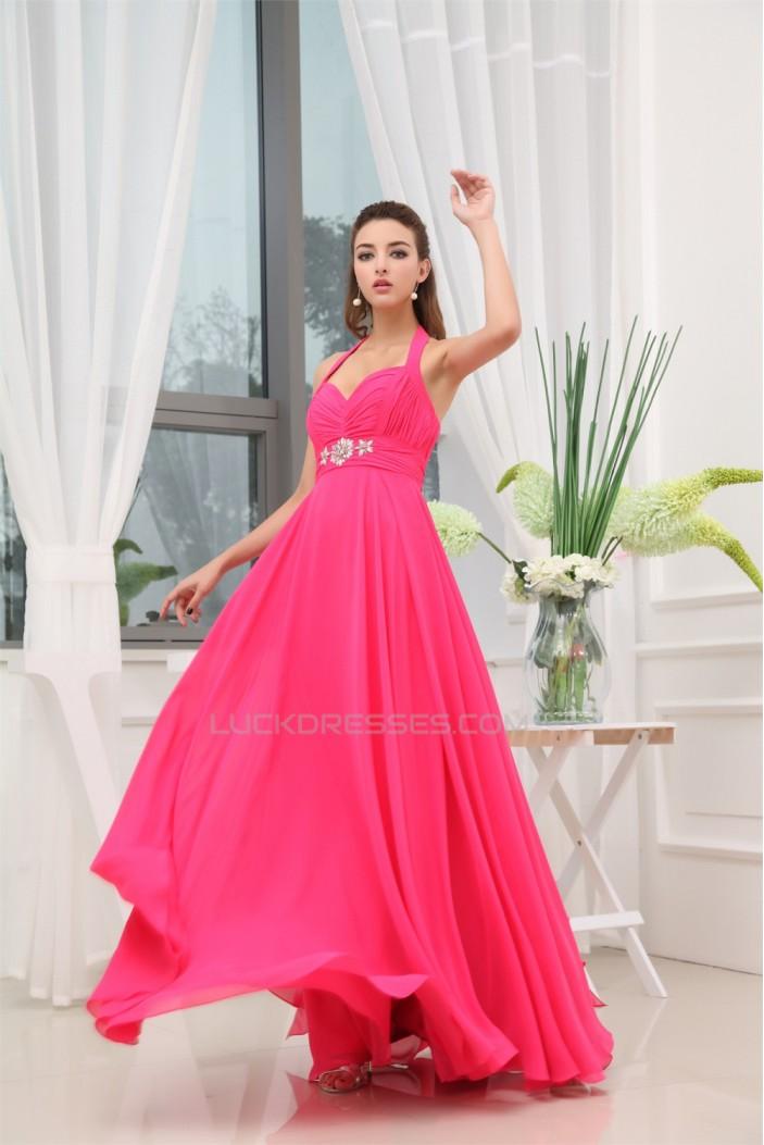 A-Line Beading Sleeveless Floor-Length Halter Long Chiffon Prom/Formal Evening Dresses 02020067