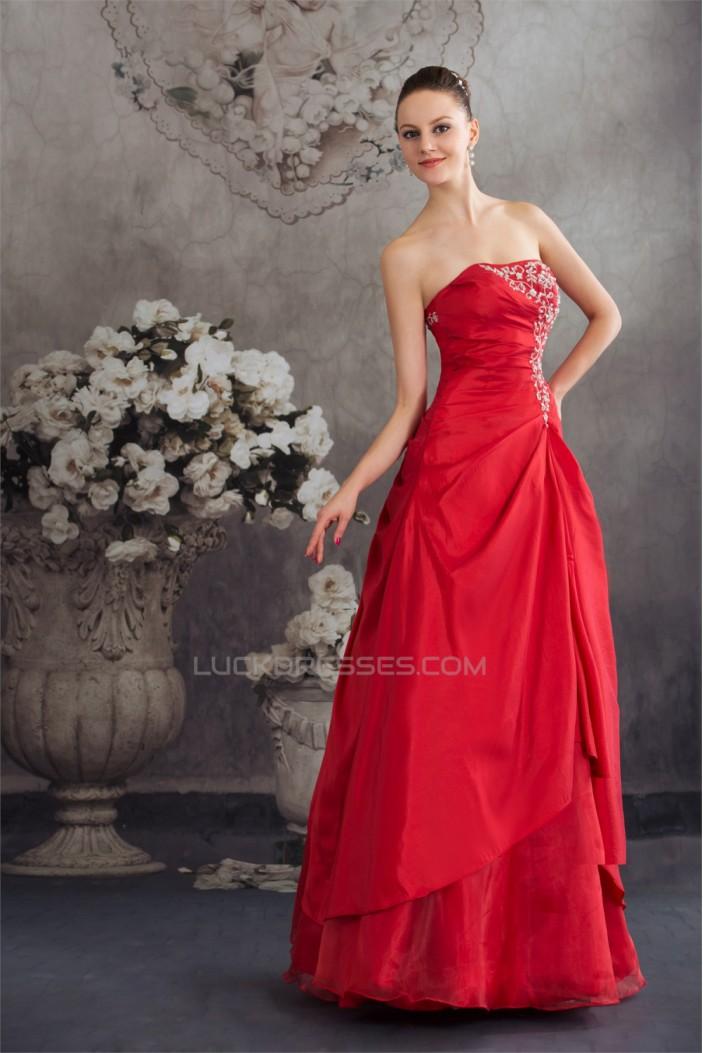 Beading A-Line Strapless Floor-Length Taffeta Long Red Prom/Formal Evening Dresses 02020068