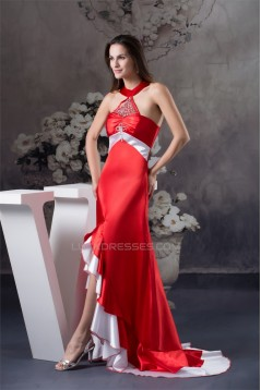 Beading Brush Sweep Train A-Line Halter Long Red Prom/Formal Evening Dresses 02020069